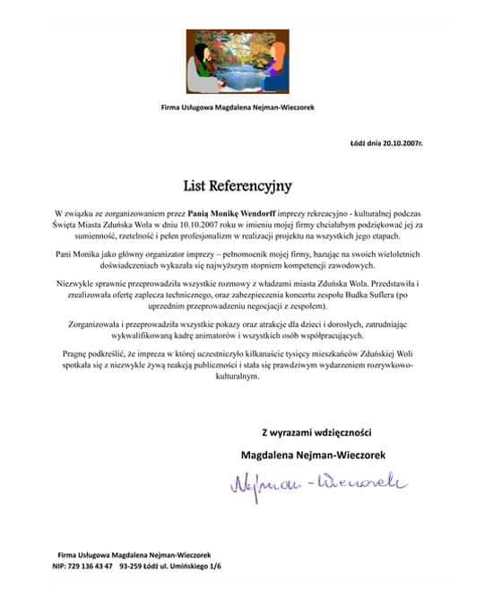 Referencje - Magdalena Nejman-Wieczorek