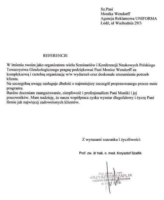 Referencje - Polskie Towarzystwo Ginekologiczne